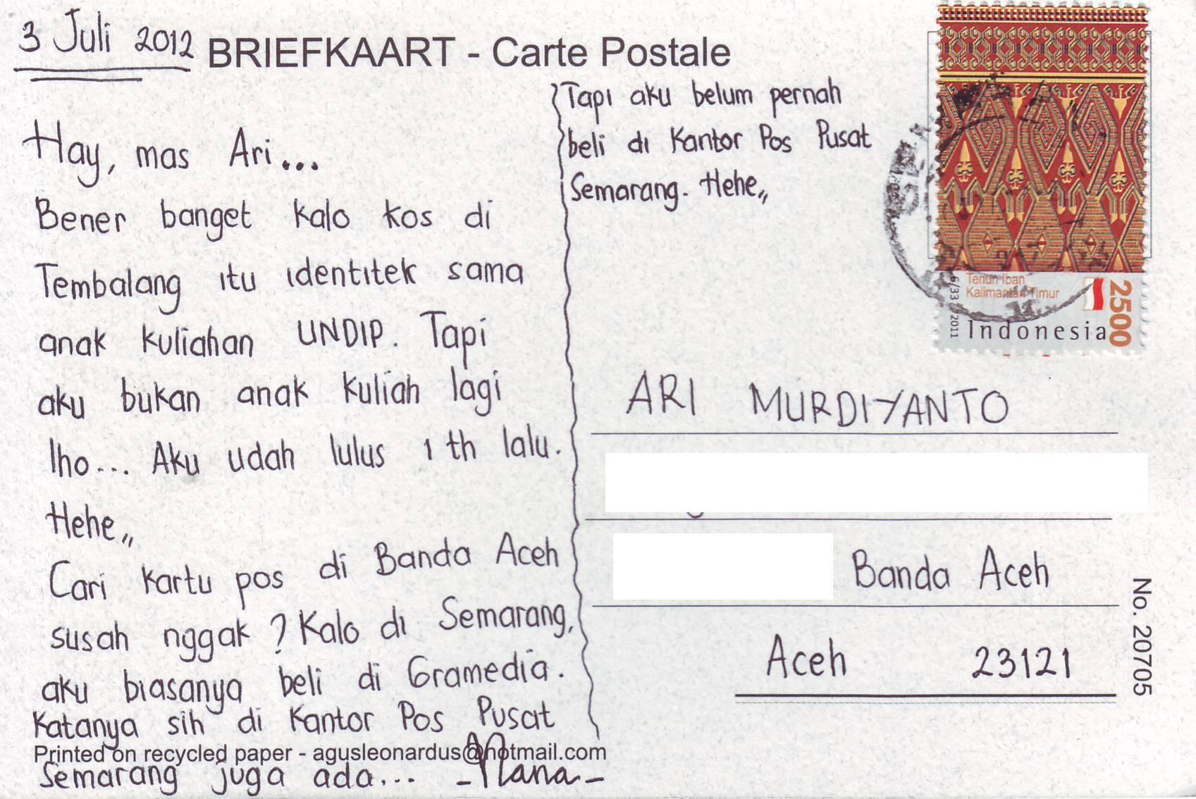 Contoh Postcard Tentang Liburan Dalam Bahasa Inggris Dan Artinya Barisan Contoh