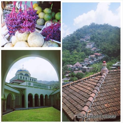 Kiri atas: Buah parijoto, Kiri bawah: Masjid Sunan Muria, Kanan: Puncak Gunung Muria