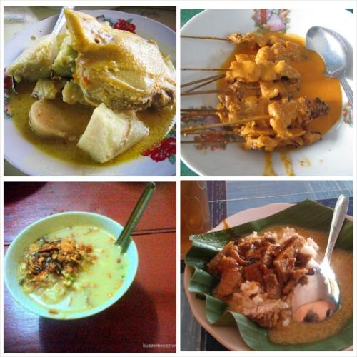 Kuliner Jawa Tengah (dari kiri ke kanan: Lontong Tuyuhan, Sate Srepeh, Soto Kemiri, Nasi Gandul)