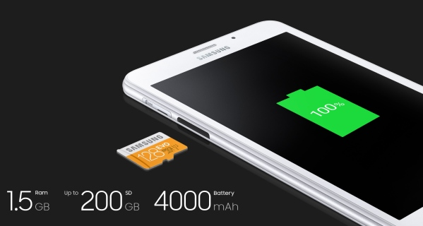 Samsung Galaxy Tab A - baterai tahan lama
